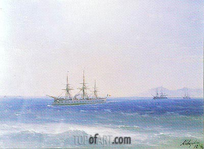 French Warships offshore, 1874 | Aivazovsky | Painting Reproduction