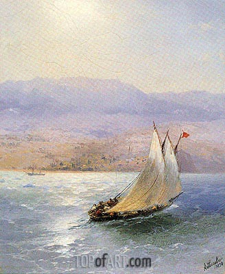 Sailing Barge in Crimea with the Alipka Palace in the Distance, 1890 | Aivazovsky | Gemälde Reproduktion