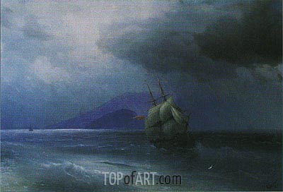 Turkish Ship at Night, 1874 | Aivazovsky | Painting Reproduction