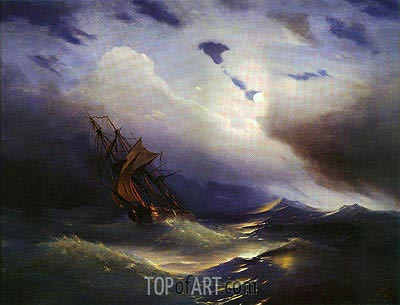Storm, 1851 | Aivazovsky | Painting Reproduction