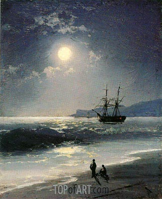 Sailing Ship on a Calm Sea by Moonlight, 1897 | Aivazovsky | Painting Reproduction