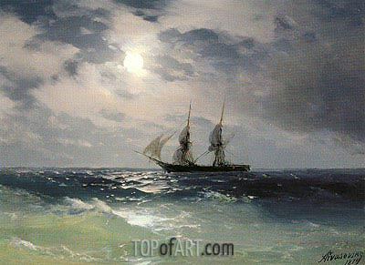 The Brig Mercury in the Moonlight, 1874 | Aivazovsky | Painting Reproduction