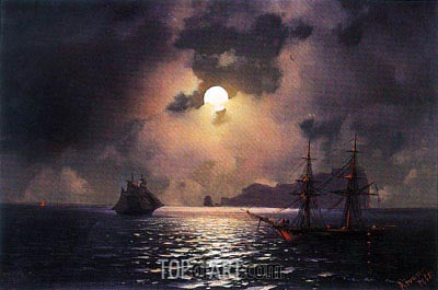 Shipping on a Moonlit Night, 1865 | Aivazovsky | Painting Reproduction