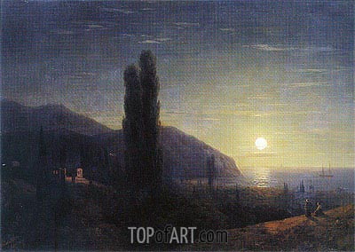 Crimean View in the Moonlight, 1860 | Aivazovsky | Painting Reproduction