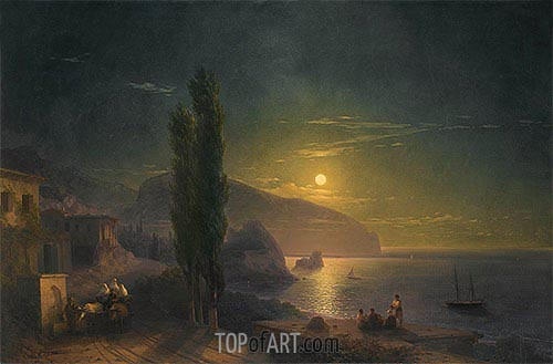Ayu Dag under a Full Moon, 1856 | Aivazovsky | Painting Reproduction