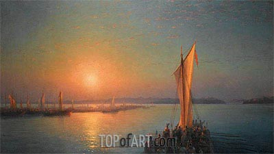 Varangians on the Dnieper, 1876 | Aivazovsky | Painting Reproduction