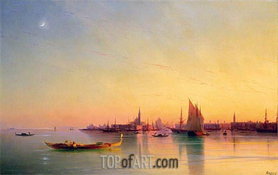 Sunset over the Venetian Lagoon, 1873 | Aivazovsky | Painting Reproduction