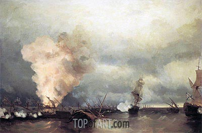 Battle of Vyborg Bay, 25 June 1790, 1846 | Aivazovsky | Painting Reproduction