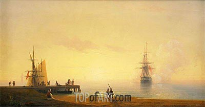 Turkish Coastal Scene, Ship off the Beach, 1845 by Aivazovsky