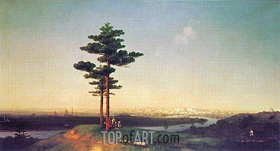 View of Moscow from the Sparrow Hills, 1851 | Aivazovsky | Gemälde Reproduktion
