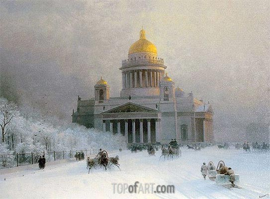 St. Petersburg: St. Isaac's Cathedral on a Frosty Day, c.1870 | Aivazovsky | Painting Reproduction