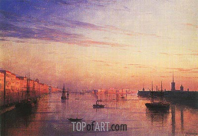 View along the Neva in St. Petersburg with the Stock Exchange in the Distance, 1881 | Aivazovsky | Painting Reproduction