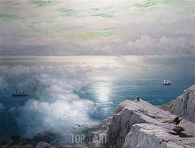 A Rocky Coastal Landscape in the Aegean with Ships in the Distance, 1884 | Aivazovsky | Painting Reproduction