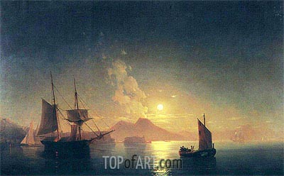 View of Vesuvius on a Moonlit Night, undated | Aivazovsky | Painting Reproduction
