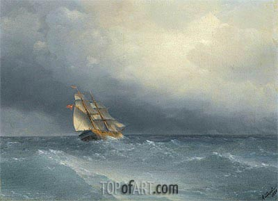 The Lifting Storm, 1880 | Aivazovsky | Painting Reproduction
