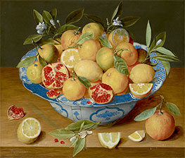 Still Life with Lemons, Oranges, and a Pomegranate, c.1620/40 by Jacob van Hulsdonck | Painting Reproduction