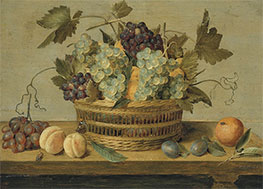 Nectarines and Grapes in a Basket | Jacob van Hulsdonck | Painting Reproduction