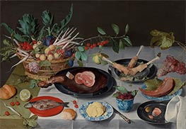 Still Life with Meat, Fish, Vegetables, and Fruit, c.1615/20 by Jacob van Hulsdonck | Painting Reproduction