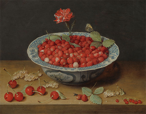 Wild Strawberries and a Carnation in a Wan-Li Bowl, c.1620 | Jacob van Hulsdonck | Painting Reproduction