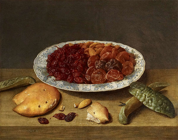 Still Life with Raisins, Apricots and Plums in a Porcelain Dish, 1620s | Jacob van Hulsdonck | Painting Reproduction