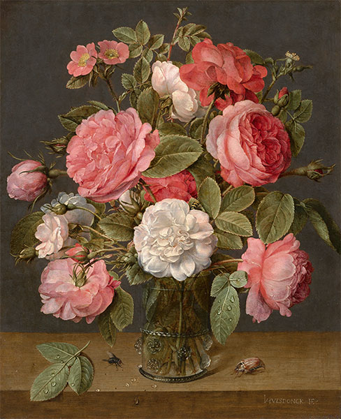 Roses in a Glass Vase, c.1640/45 | Jacob van Hulsdonck | Painting Reproduction