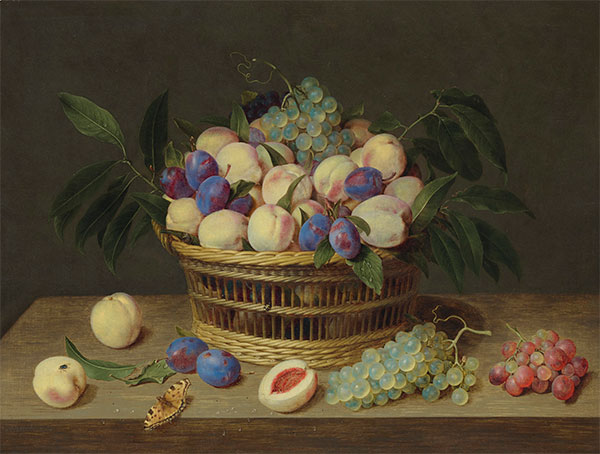 Peaches, Plums and Grapes in a Basket, Undated | Jacob van Hulsdonck | Painting Reproduction