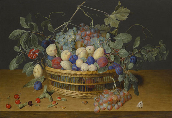 Still Life with Plums, Grapes and Peaches in a Wicker Basket, Undated | Jacob van Hulsdonck | Painting Reproduction