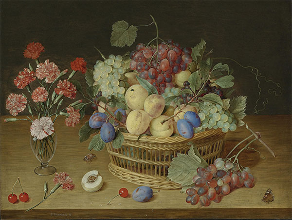A Still Life with a Vase of Carnations and a Basket of Fruits, Undated | Jacob van Hulsdonck | Painting Reproduction
