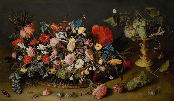 An Elaborate Basket of Flowers and a Tazza with Grapes, Undated | Jacob van Hulsdonck | Painting Reproduction