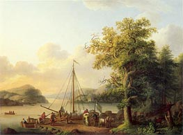 A River Landscape with Figures Loading a Small Sailing Boat, 1793 by Philippe Hackert | Painting Reproduction