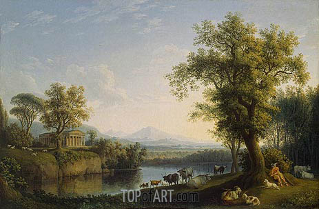 Landscape with Cattle, 1787 | Philippe Hackert | Painting Reproduction