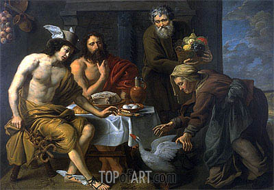 Mercury and Jupiter in the House of Philemon and Baucis, undated | Jacob van Oost | Painting Reproduction