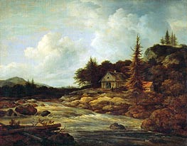 Landscape with Mountain River, c.1670/80 by Ruisdael | Painting Reproduction