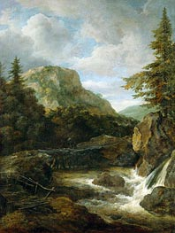 Mountain Landscape with Waterfall, c.1670/80 by Ruisdael | Painting Reproduction