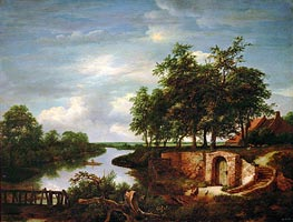 River Landscape and Entrance to a Cellar | Ruisdael | Painting Reproduction