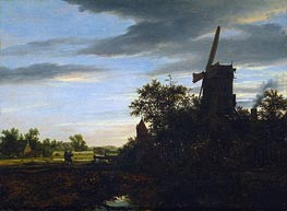 A Windmill near Fields, 1646 von Ruisdael | Gemälde-Reproduktion