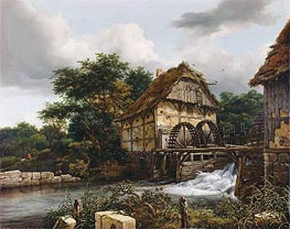 Two Watermills and an Open Sluice, 1653 von Ruisdael | Gemälde-Reproduktion