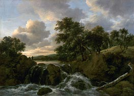 Landscape with a Waterfall, undated von Ruisdael | Gemälde-Reproduktion