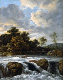 Landscape with Waterfall, c.1665 von Ruisdael | Gemälde-Reproduktion