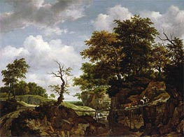 Landscape with Bridge, Cattle, and Figures, c.1660 von Ruisdael | Gemälde-Reproduktion