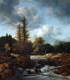 Landscape with Waterfall, c.1660/70 von Ruisdael | Gemälde-Reproduktion