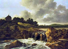 Landscape with Waterfall, c.1670 von Ruisdael | Gemälde-Reproduktion
