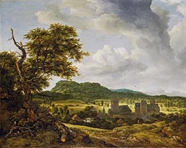 Landscape with a Village | Ruisdael | Gemälde Reproduktion