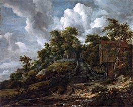 Wooded Hillside with a View of Bentheim Castle, c.1655/60 von Ruisdael | Gemälde-Reproduktion