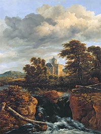 Landscape with a Waterfall and Castle, c.1670 von Ruisdael | Gemälde-Reproduktion