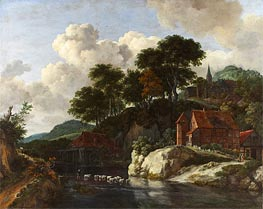 Hilly Landscape with a Watermill, c.1670 von Ruisdael | Gemälde-Reproduktion