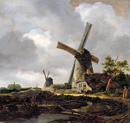Landscape with Windmills near Haarlem | Ruisdael | Painting Reproduction