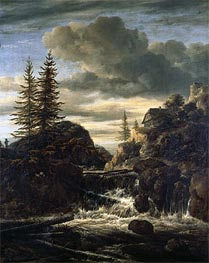 A Norwegian Landscape with a Cascade Waterfall | Ruisdael | Gemälde Reproduktion