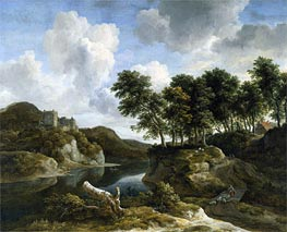 River Landscape with a Castle on a High Cliff | Ruisdael | Gemälde Reproduktion
