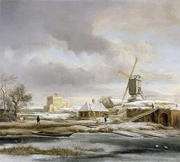 A Winter Landscape with a Frozen Canal and a Windmill | Ruisdael | Painting Reproduction